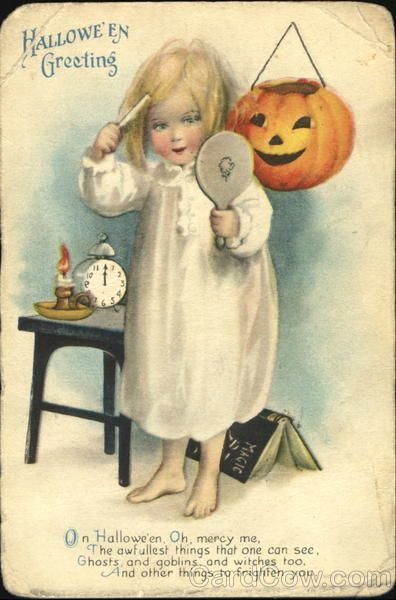 Halloween Greeting On Hallowe'en Oh, mercy me, The awfullest things that once can see, Ghosts and goblins, and witches too, And other things to frighten you. DOUBLE SPOOKY!!