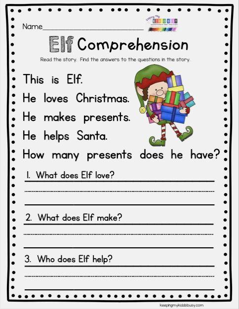Christmas Reading Worksheets For Kindergarten