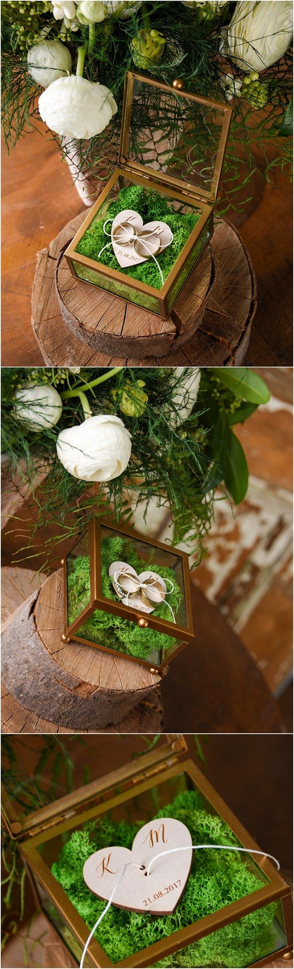 Rustic glass wedding ring box