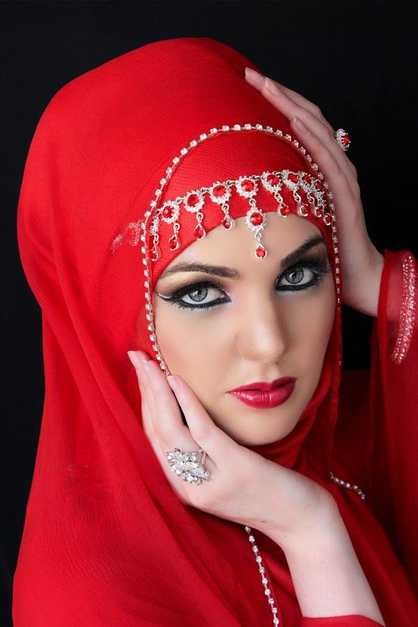 red Hijab bridal by Mysterious Beauty - People Fashion ( red hijab bridal )