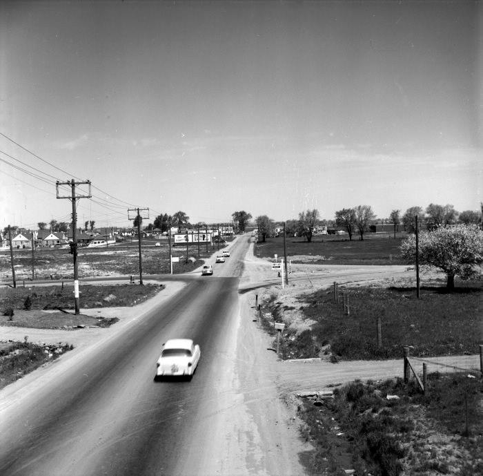 1955: Dufferin Street, looking north from highway 401.