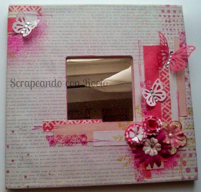 Espejo malma decorado con scrapbooking. Decorated malma mirror.