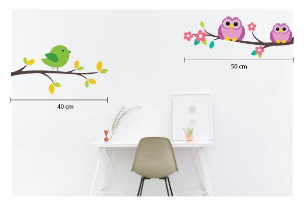 Adesivo murale con gufi, uccelli, ramo e mela per cameretta bambini o spazi gioco in asili nido, ludo. Adesivo facile da montare e rimovibile. Non lascia segni.