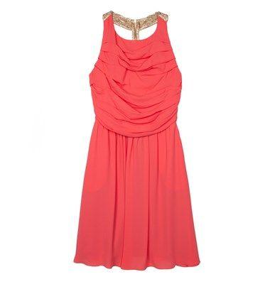 Mini chiffon dress with pleats