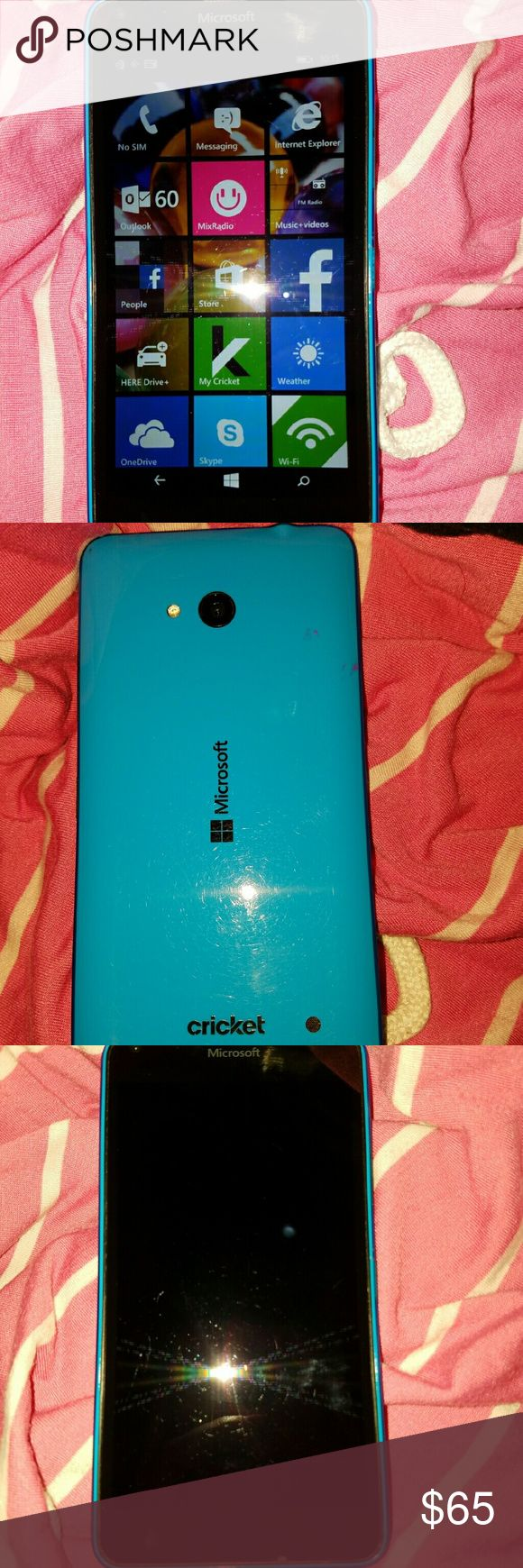MICROSOFT LUMIA 640- 4G LTE- BABY BLUE- Micro sim MICROSOFT LUMIA 640/4G/LTE_ COLOR IS BABY BLUE_ RUNS ON WINDOWS 8.1 SOFTWARE_ CRICKET_ PHONE IS NEW WITHOUT BOX_ IT HAS *NEVER* HAD ANY PHONE LINE HOOKED UP ON IT_ THIS PHONE TAKES AWESOME PICTURES!! AND IT'S SUPER CUTE & VERY STYLISH!! ((ALSO, THESE PHONE'S ARE BUILT TO LAST!! VERY DURABLE!!)) **MAKE ME AN OFFER!!* :):) Microsoft Windows Other