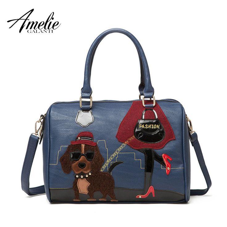 Retro handmade embroidery cartoon lovely dog bag portable shoulder bag