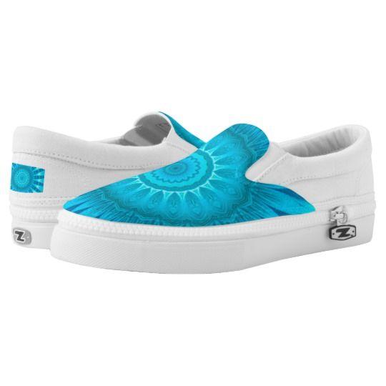 Turquoise Mandala Custom Zipz Slip On Shoes by www.zazzle.com/htgraphicdesigner* #zazzle #gift #giftidea #shoes #mandala #kaleidoscope #abstract #summer #blue #turquoise