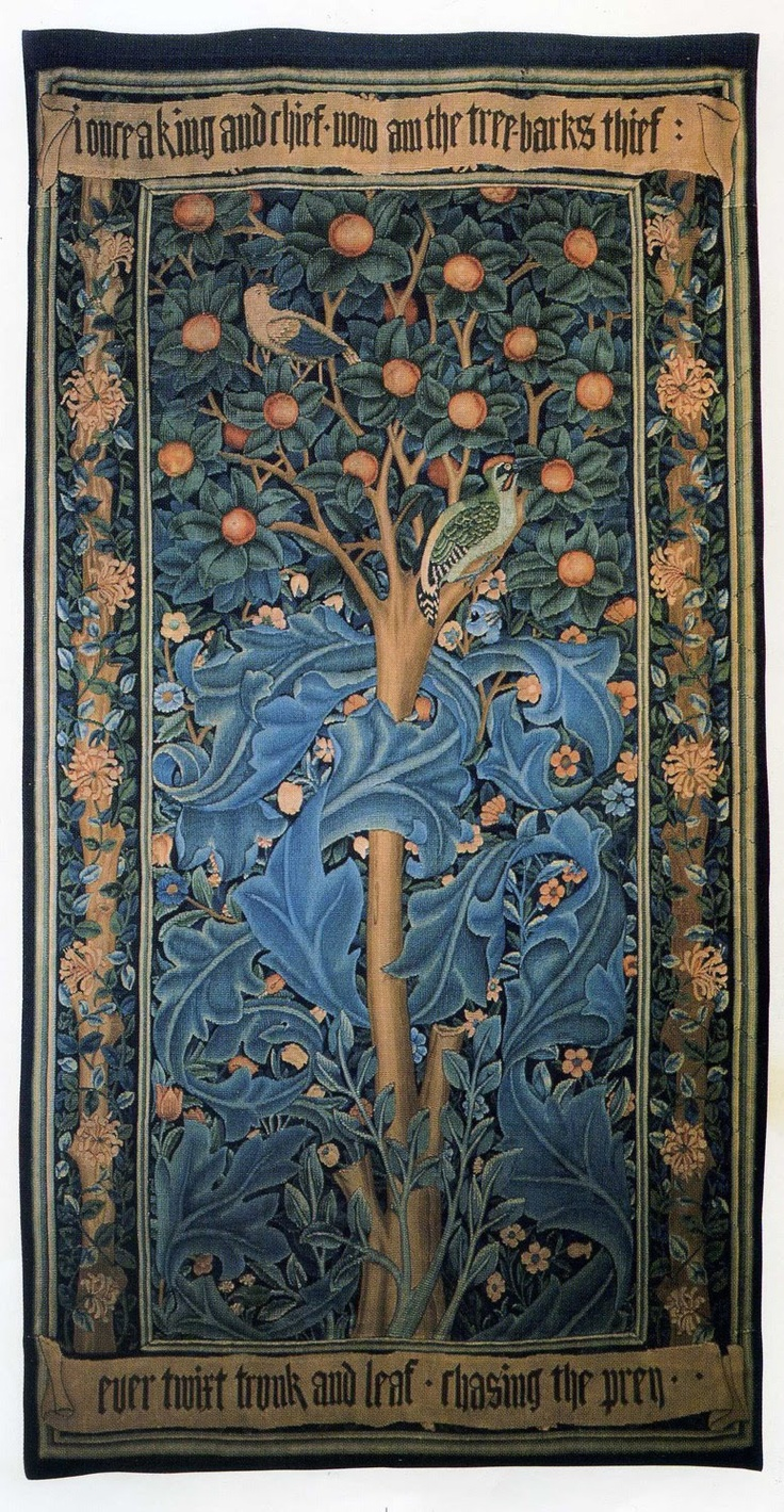 William Morris's Woodpecker Tapestry...William Morris has been credited with starting the Arts and Crafts movement which led to the Art Nouveau movement...He was heavily influenced by Japanese design