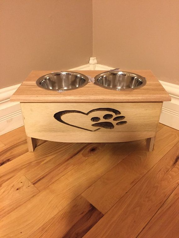 Custom made dog feeding station from reclaimed wood, dog feeder, dog bowls, elevated dog feeder