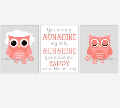 Coral Baby Girl Nursery Art Owls You Are My Sunshine Print Baby Nursery Decor