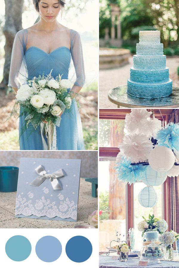 Hochzeitstrend 2015 Blaue Hochzeit Inspiration Dusty Blue Baby Blue Tiffany Blue Einladungskarten Tischdeko Hochzeitstorte Brautkleid Hochzeitsfarbe Trend 2015: Blaue Hochzeit Inspiration