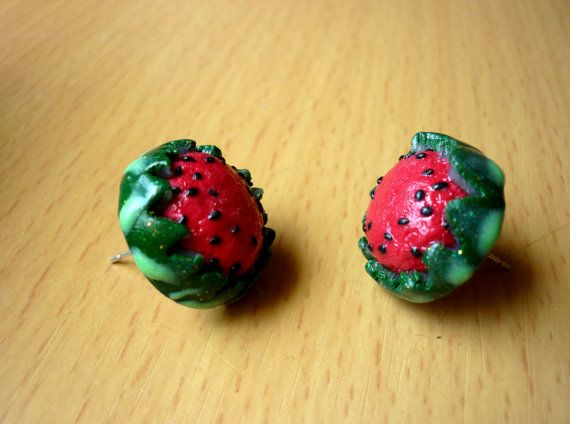 juicy watermellon stud earrings handmade by polymer clay