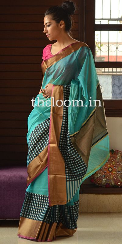 Blue Handwoven Kora Cotton Saree