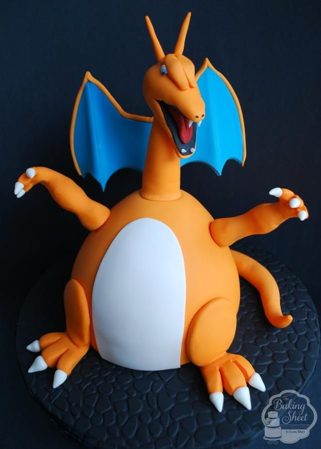 A request from my son for his 8th birthday. I actually had to research this one… Mega Charizard EX is a Pokemon character! My goal was to make him scary, but everyone thinks he's cute… LOL!