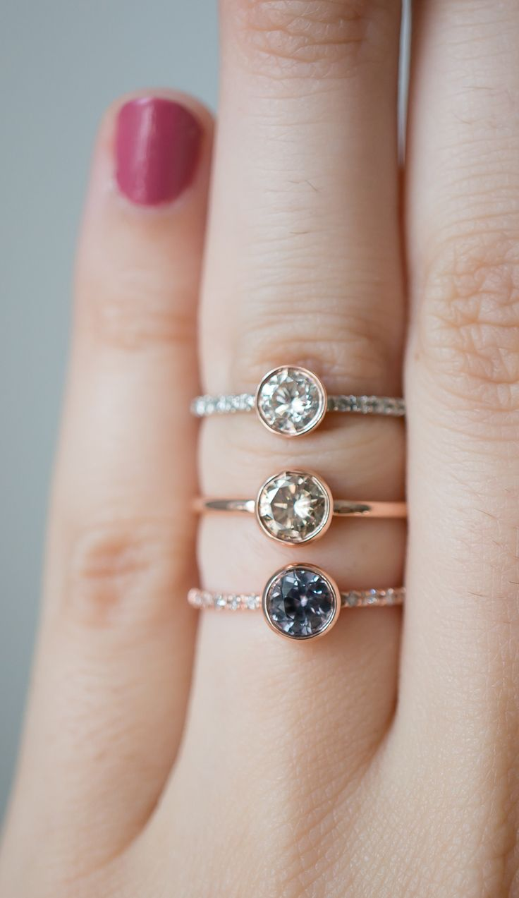 One of a kind solitaires with vintage diamonds and sapphires