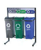 Set Punto verde 53 litros, incorpora armazón de fierro para 3 unidades de contenedores de 53 litros, con los conceptos y colores de reciclaje. Foto de contenedor es referencial Se arma de acuerdo a requerimientos de reciclaje de cliente.