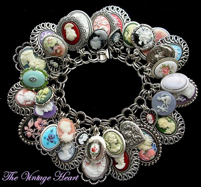 Vintage Cameo Charm Bracelet Sterling | Flickr - Photo Sharing! https://www.facebook.com/pages/The-Vintage-Heart-Charm-Bracelets/114715421925849