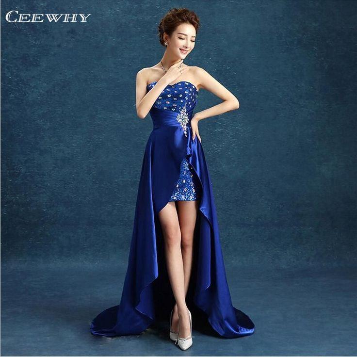 Sweatheart Asymmetrical Evening Dresses Long Court Train Mermaid Dovetail Prom Dresses Crystal Corset Dress vestidos de baile