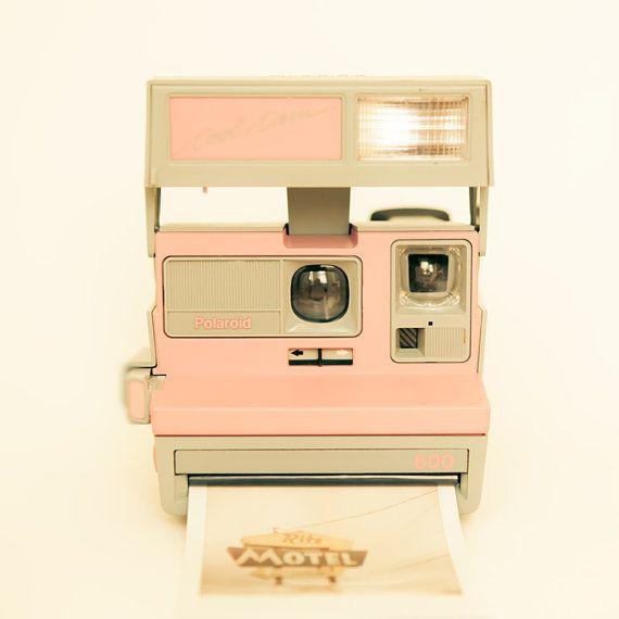 Polaroid camera, vintage camera, pastel, pink, neutrals, modern home decor, hipster, Polaroid love, pale pink - Pink Pola Love 8x8