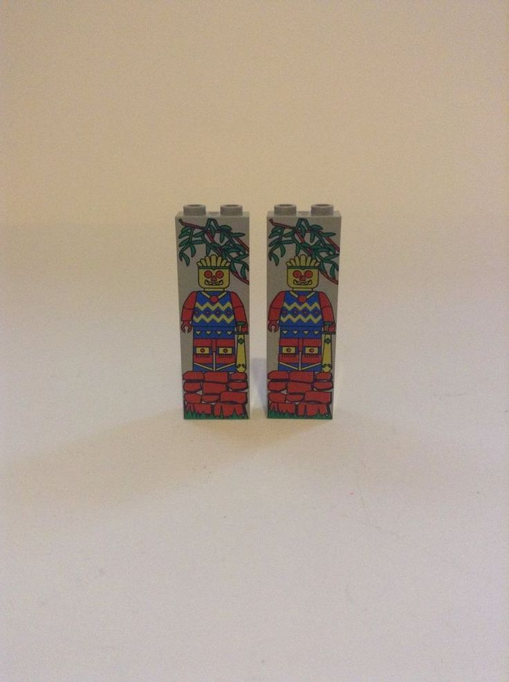 Rare Lego Set Of 2 Minifig Painted On Brick Mayan Aztec Indian Brick Part #Lego