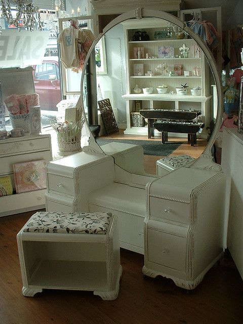 art deco vanity - my grandparents had this in medium stain - it would be fun to have it and paint is like this or similar - re-purpose it.