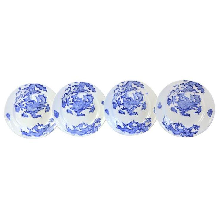 Set of Four Blue Dragon Plates by Coalport 1