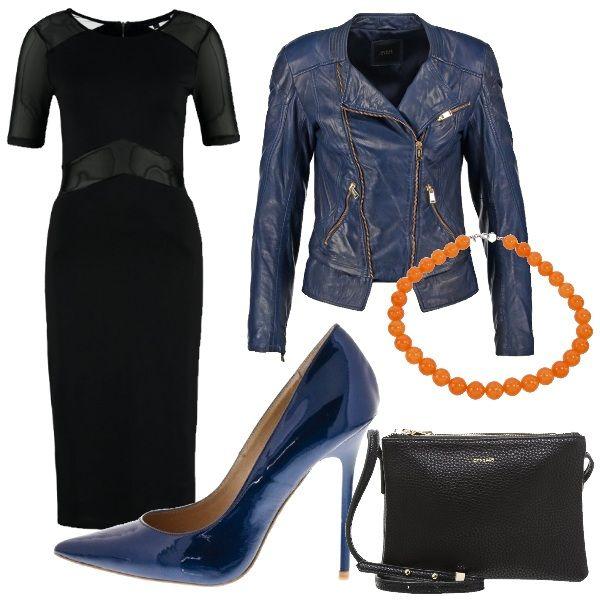 Tubino nero elegante, con trasparenze, abbinato a giacca in pelle Guess e décolleté blu. Piccola borsa a tracolla nera in finta pelle e collana di perle arancio. Un outfit grintoso e molto femminile per una serata con le amiche.
