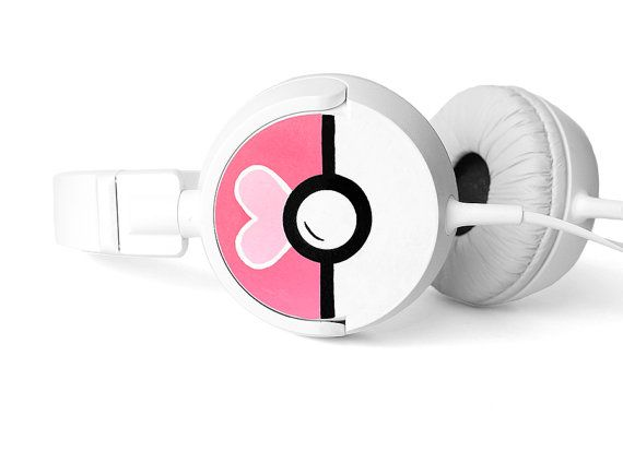 Love Ball Pokephones cute Headphones earphones heart by ketchupize, €45.00