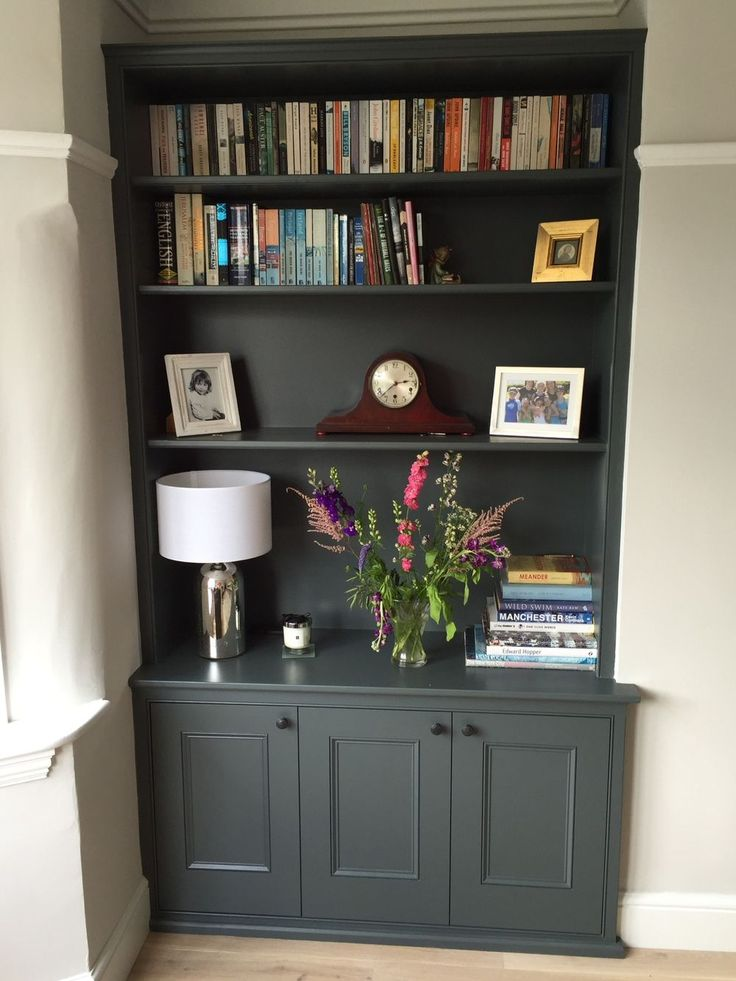 Handmade shelving, alcove unit, painted dark grey and cabinets by Oliver Hazael Bespoke Carpentry in Bath, UK
