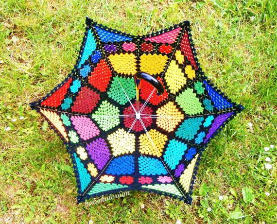 That is freakin cool! Though not practical for rain...  Granny Mosaic SUNbrella by babukatorium on Etsy, $210.00