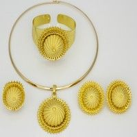 Wish   2016 New Vintage African Jewelry Sets Dubai Ethiopian jewelry 24k Gold Plated Neckalce Earrings African women costume jewelry (Color: Gold)