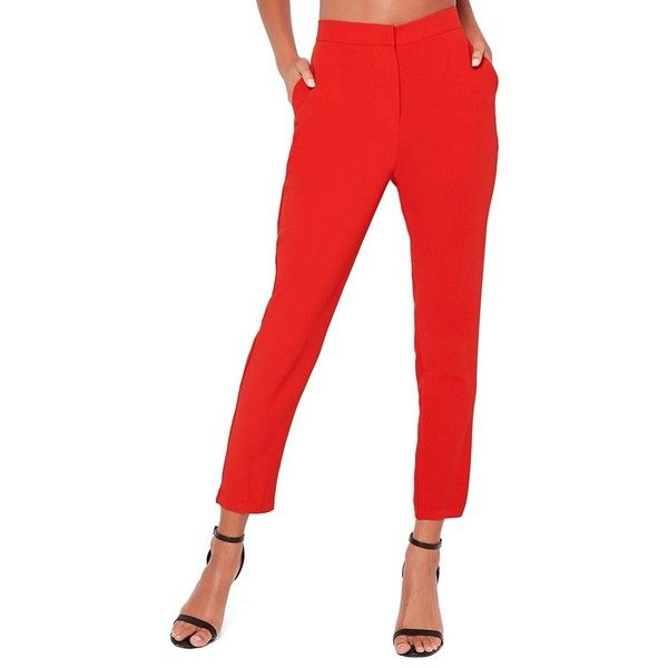 Women's Missguided Crop Cigarette Trousers ($72) ❤ liked on Polyvore featuring pants, capris, red, cropped trousers, red pants, cropped pants, red trousers and white cigarette pants