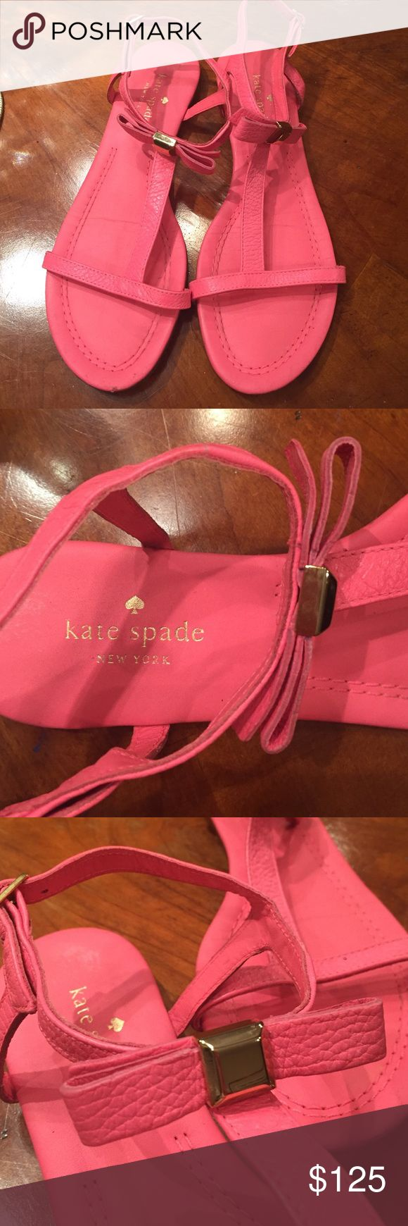 Kate Spade Bright Pink Bow Sandals Bright pink flat sandals with bow and gold accent kate spade Shoes Sandals