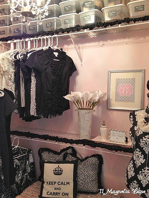 pink/black closet ideas.