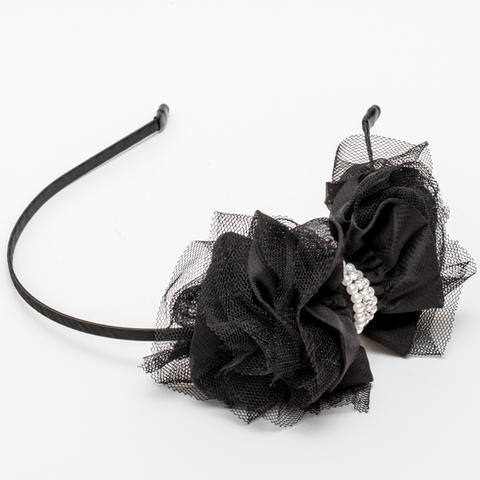 The Fairy Mist Headband - gorgeous satin and tulle bow with pearl and crystal centre from our latest #siennalikestoparty collection.  www.siennalikestoparty.com