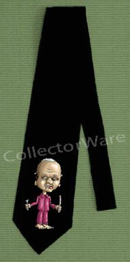 HANNIBAL LECTER cartoon CUSTOM ART UNIQUE TIE   Each necktie is individually hand-painted, a true and unique work of art indeed!  To order this, or design your own custom tie, please contact us at info@collectorware.com, or visit http://www.collectorware.com/neckties-1movies_tv.htm