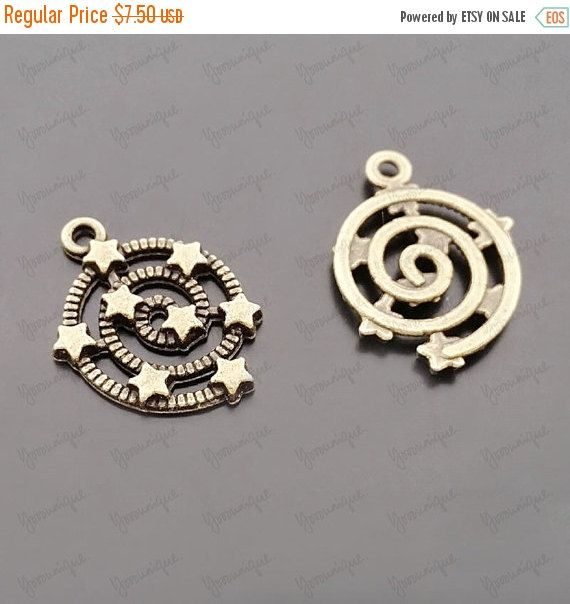 100 Bulk Interstellar Charm Pendant Antiqued Bronze 21x15mm B1356 by yooounique on Etsy