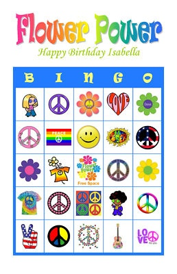 Flower Power 60s 70s Hippie Personalized Bingo Game Birthday Party Bingo Cards Delivered by Email