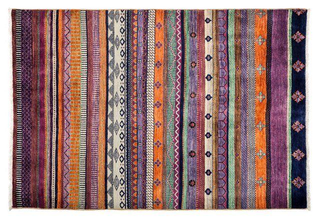"4'1""x6' Tribal Stripes Rug, Multi"