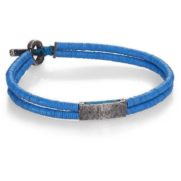 M.Cohen Small Bar Vinyl & Silver Bracelet ($225) ❤ liked on Polyvore featuring men's fashion, men's jewelry, men's bracelets, mens watches jewelry, mens silver bracelets, mens cord bracelets and mens bracelets