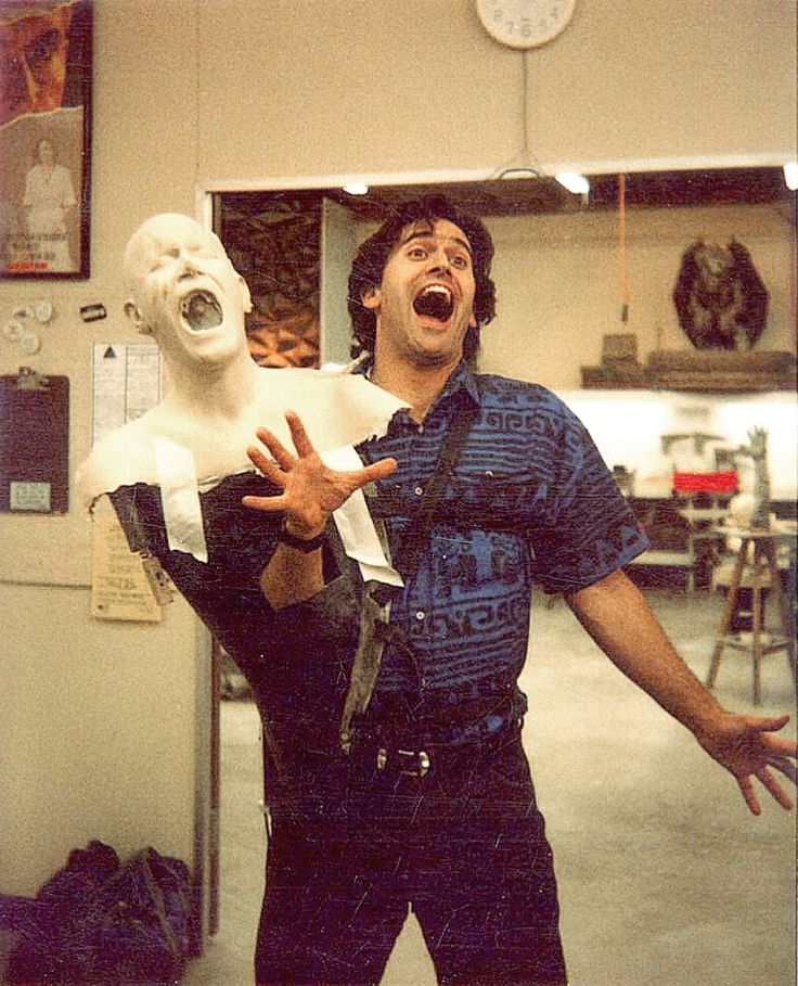 Bruce Campbell tries on some early foam and polyfoam pieces on fiberglass understructures made by the Alterian Studios team for Army of Darkness.