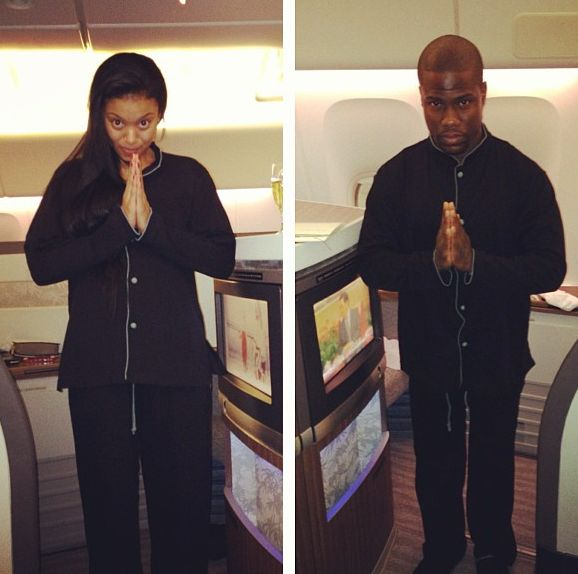 the Jasmine Brand: Kevin Hart & Girlfriend, Eniko, Jet Set in Pajamas for Christmas