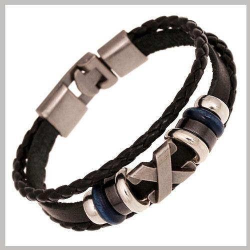 Na moda couro genuíno tecido pulseira envoltório homens negros do couro Trançado Pulseiras Bangles Jóias Pulseira De Couro Masculina SL092
