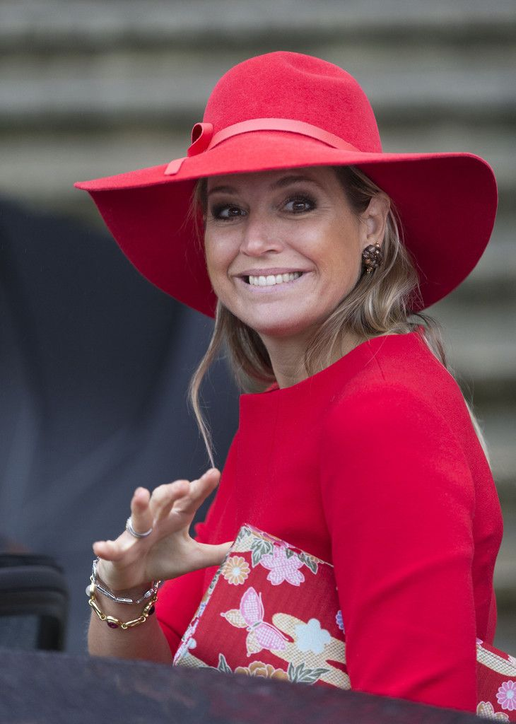 Queen Maxima of The Netherlands leaves after attending a symposium organised by Blijf van mijn Lijf, marking 40 years of the protection of women against domestic violence on October 14, 2014 in Amsterdam, The Netherlands.