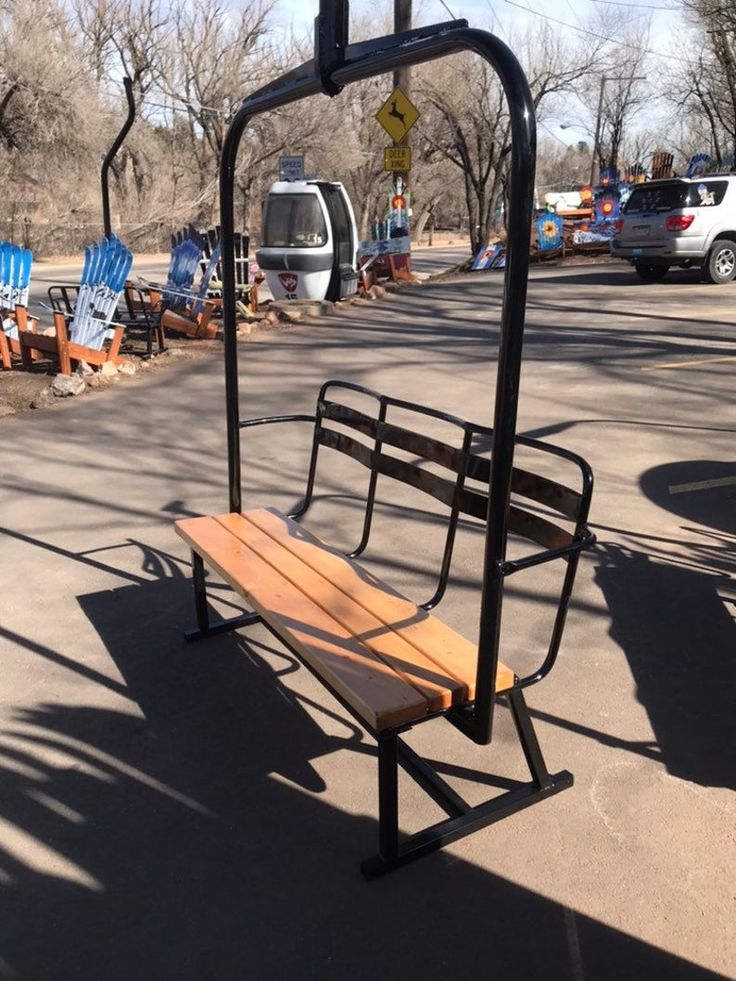 Fully repurposed 3person ski chairlift bench powder