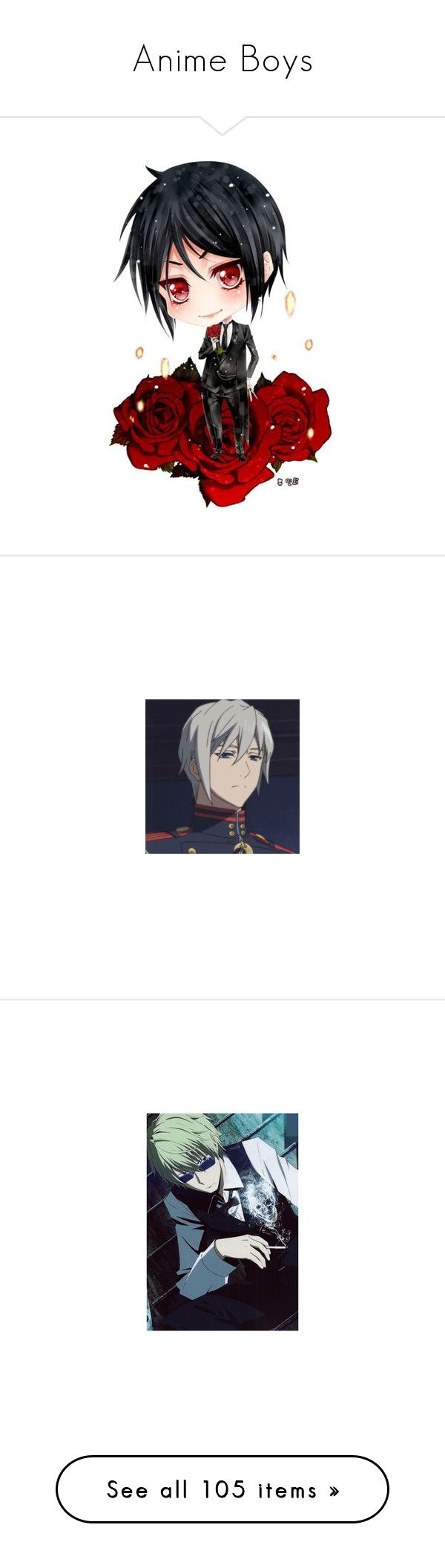 """""""Anime Boys"""" by lgdalaten ❤ liked on Polyvore featuring black butler, vocaloid, anime, characters, images, drawings, anime boy, pokemon, backgrounds and disney"""