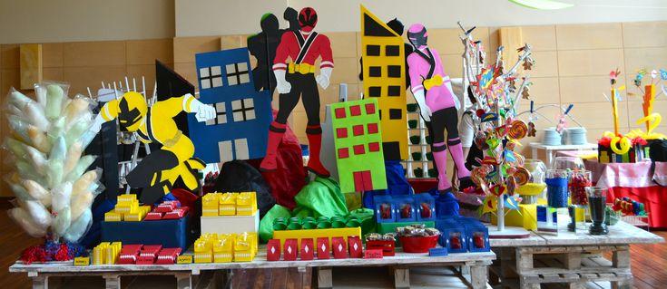 Mesa De Dulces Para Fiesta Infantil De Power Rangers Con