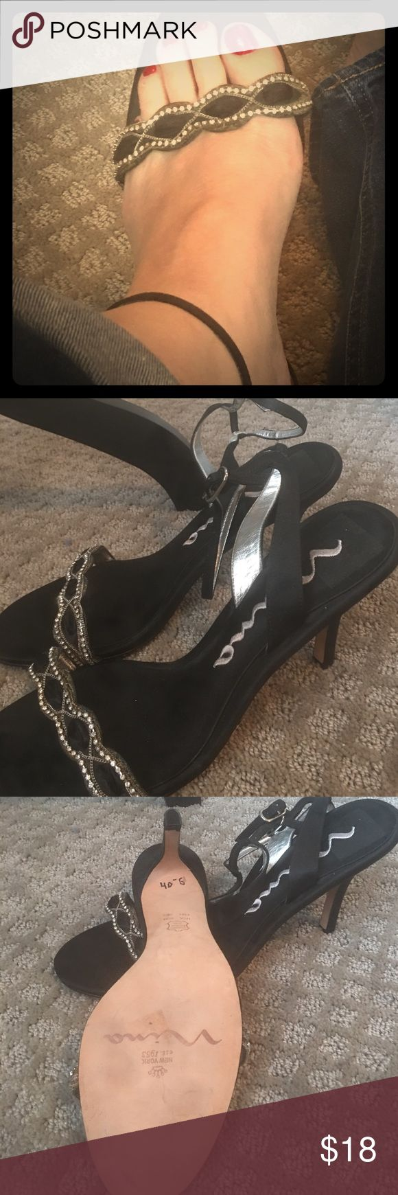 """Nina bling heels Nina black with bling toe heels -3"""" heels with a cute ankle strap for added feminine touch - prom wedding with jeans a pencil skirt work play you name it! Nina Shoes Heels"""