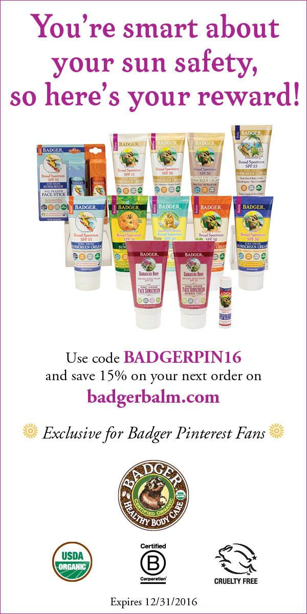 Use code BADGERPIN16 and #save 15% off of your next order on badgerbalm.com!