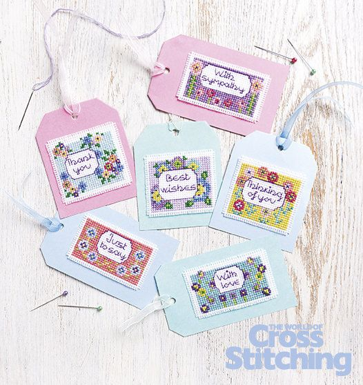 Easy-make floral gift tags - cross stitch. Fast to make… Ready for all-occasions, these tags will make your gifts stand out from the crowd! Only in the issue 231 of The World of Cross Stitching magazine, out now